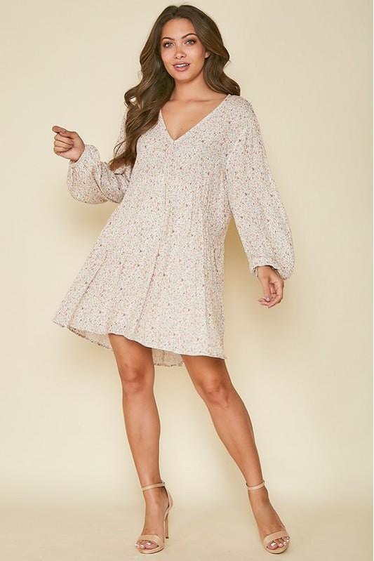 Flower Printed Long Sleeve Woven Dress