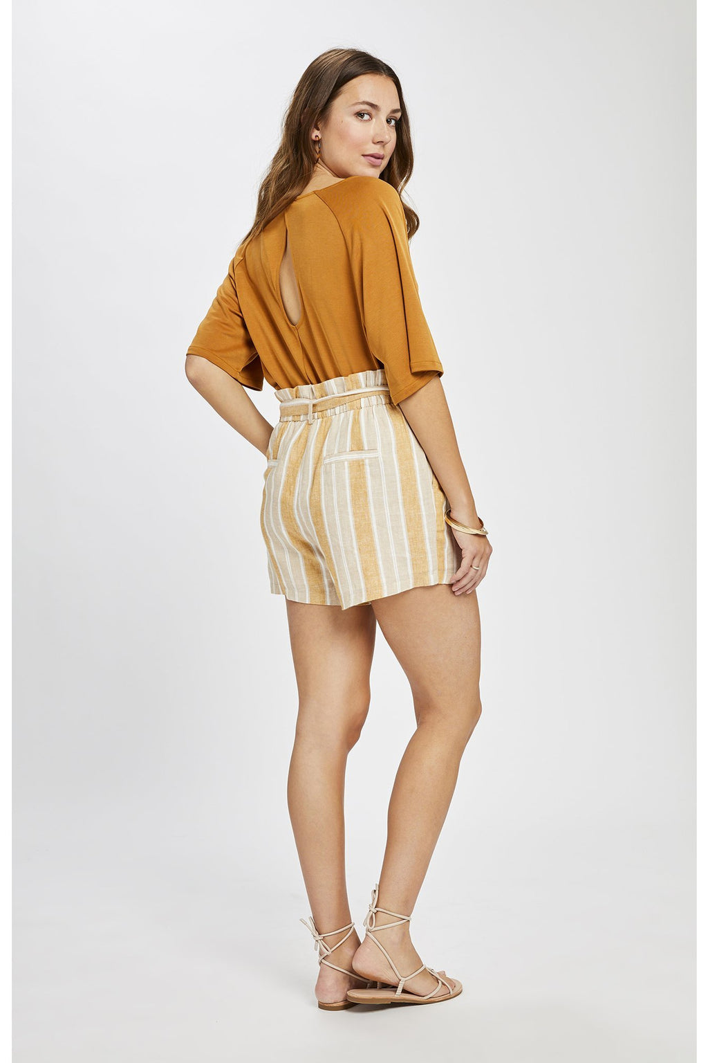 Whiteleaf Mustard Stripe Shorts