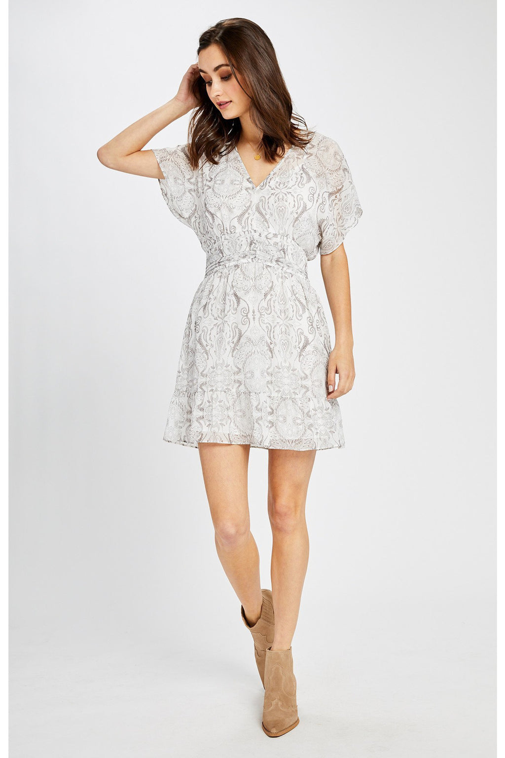 White Paisley Leigha Dress