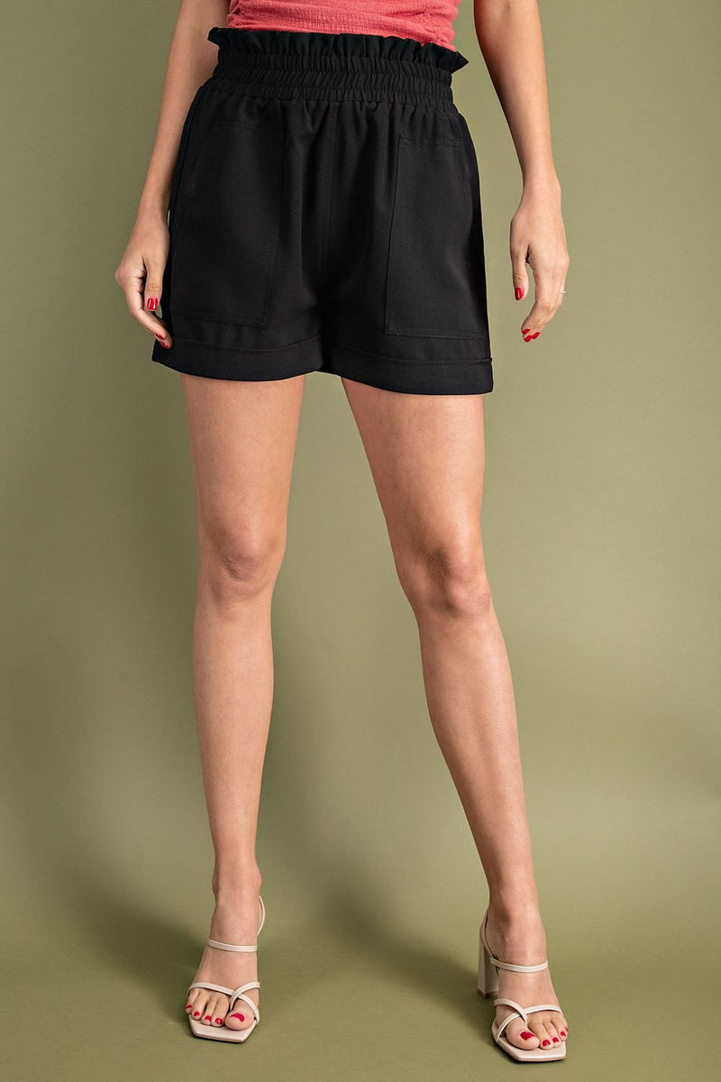 High Waisted Gathered Shorts