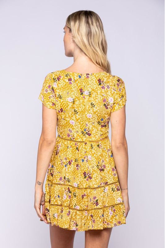 Golden Olive Floral Print Trim Layer Mini Dress