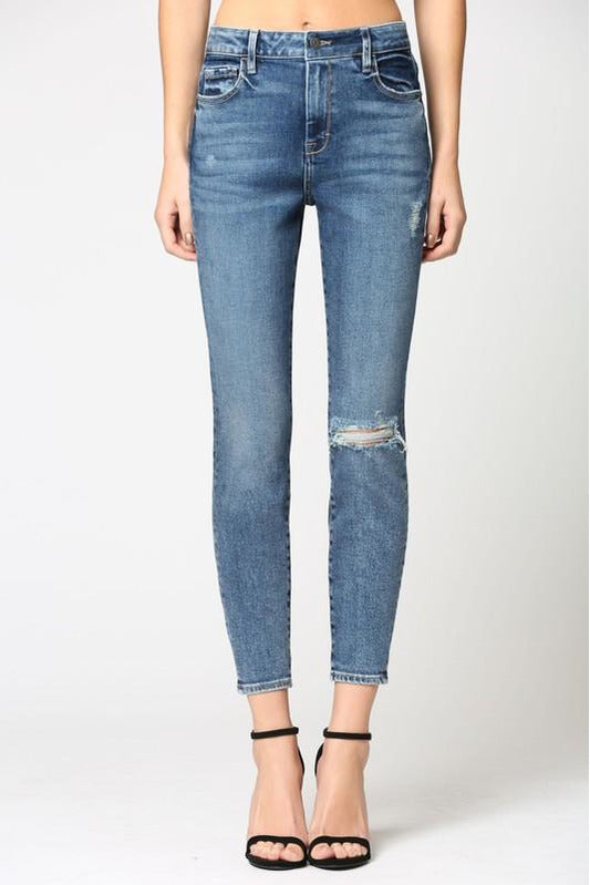 Amelia High Rise Lightly Distressed Skinny Jeans