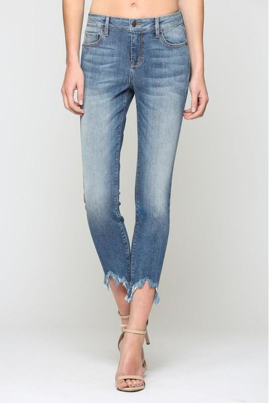 Amelia High Rise Distressed Hem Skinny Jeans