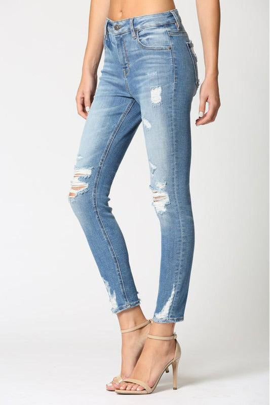 Amelia High Rise Medium Wash Distressed Skinny Jeans
