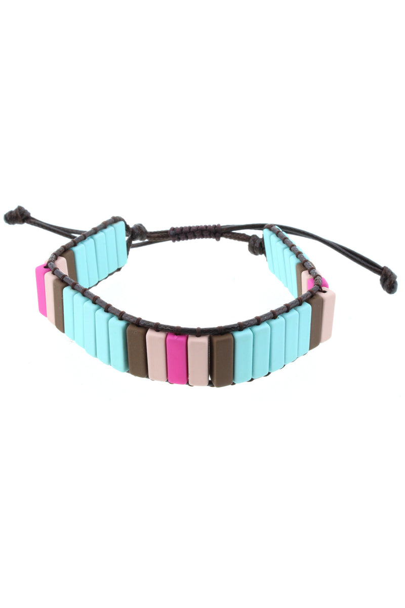 Multi Color Rectangle Bead Bracelet