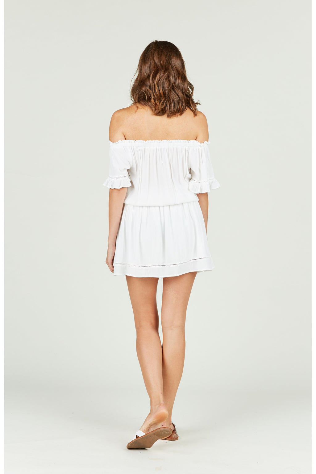 White Crochet Off Sholder Dress