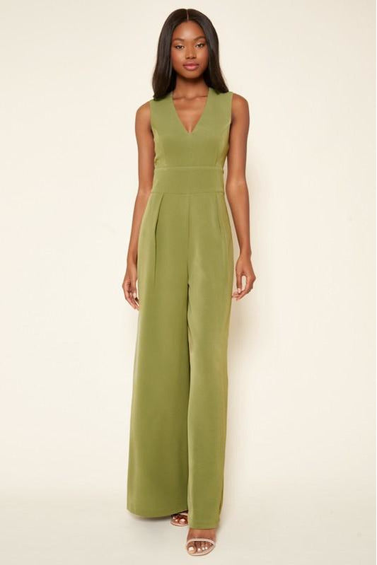 Klara Wide Leg Jumpsuit in Olive