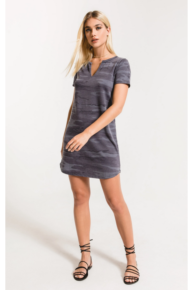 Camo Dress Split Neck Dress