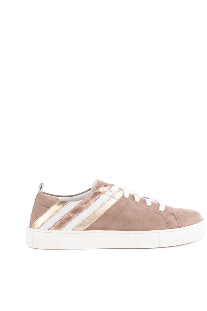 Taupe Metallic Stripe Sneakers