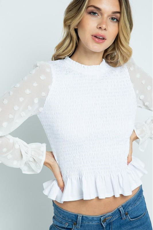 Contrast Sleeve Smocking Top