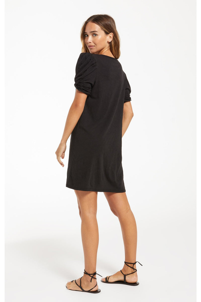 Indi Slub Puff Sleeve Dress