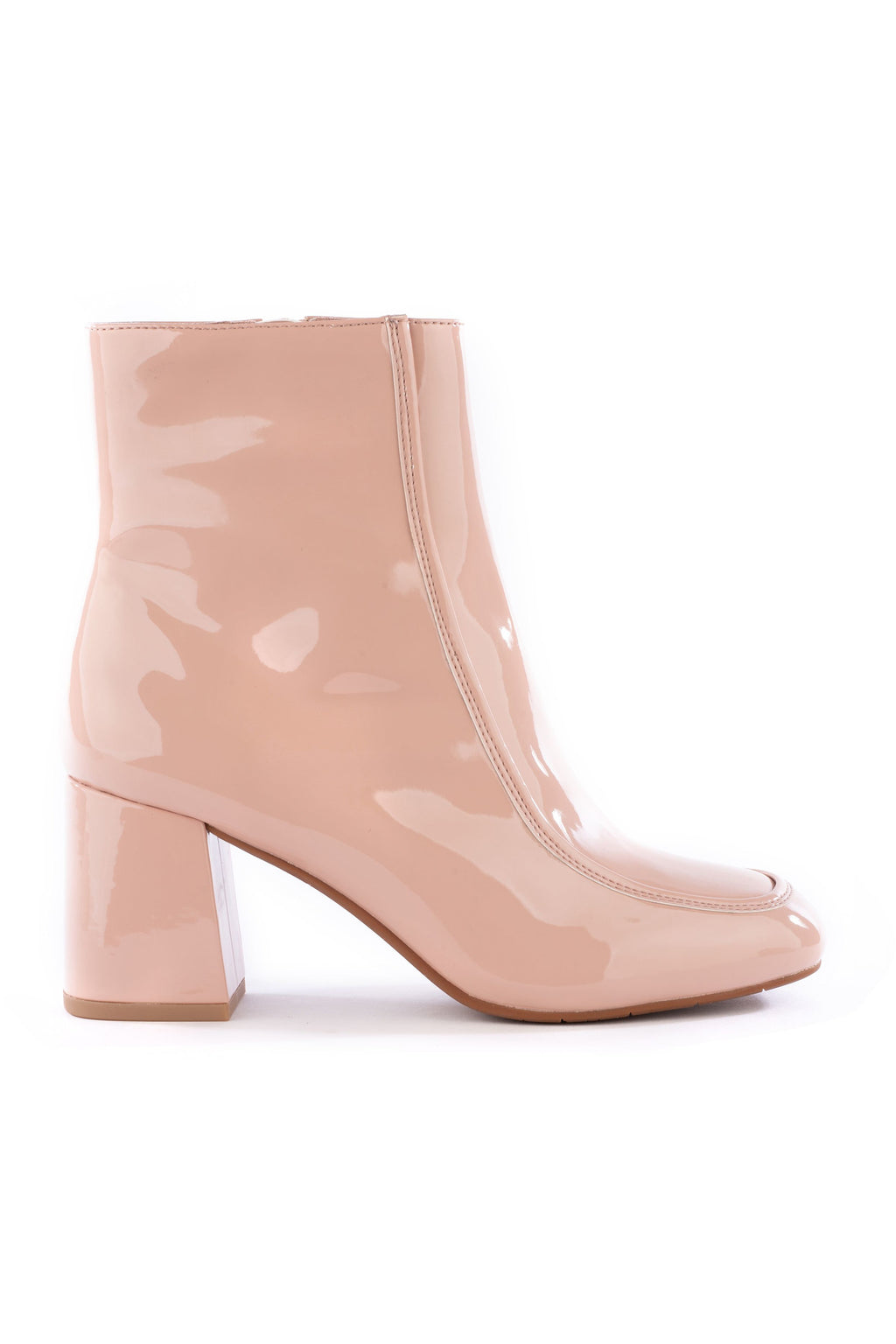 After All Blush Patent Leather Booties