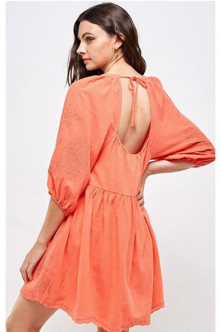 Coral Tie Back Embroidered Puff Sleeve Mini Dress