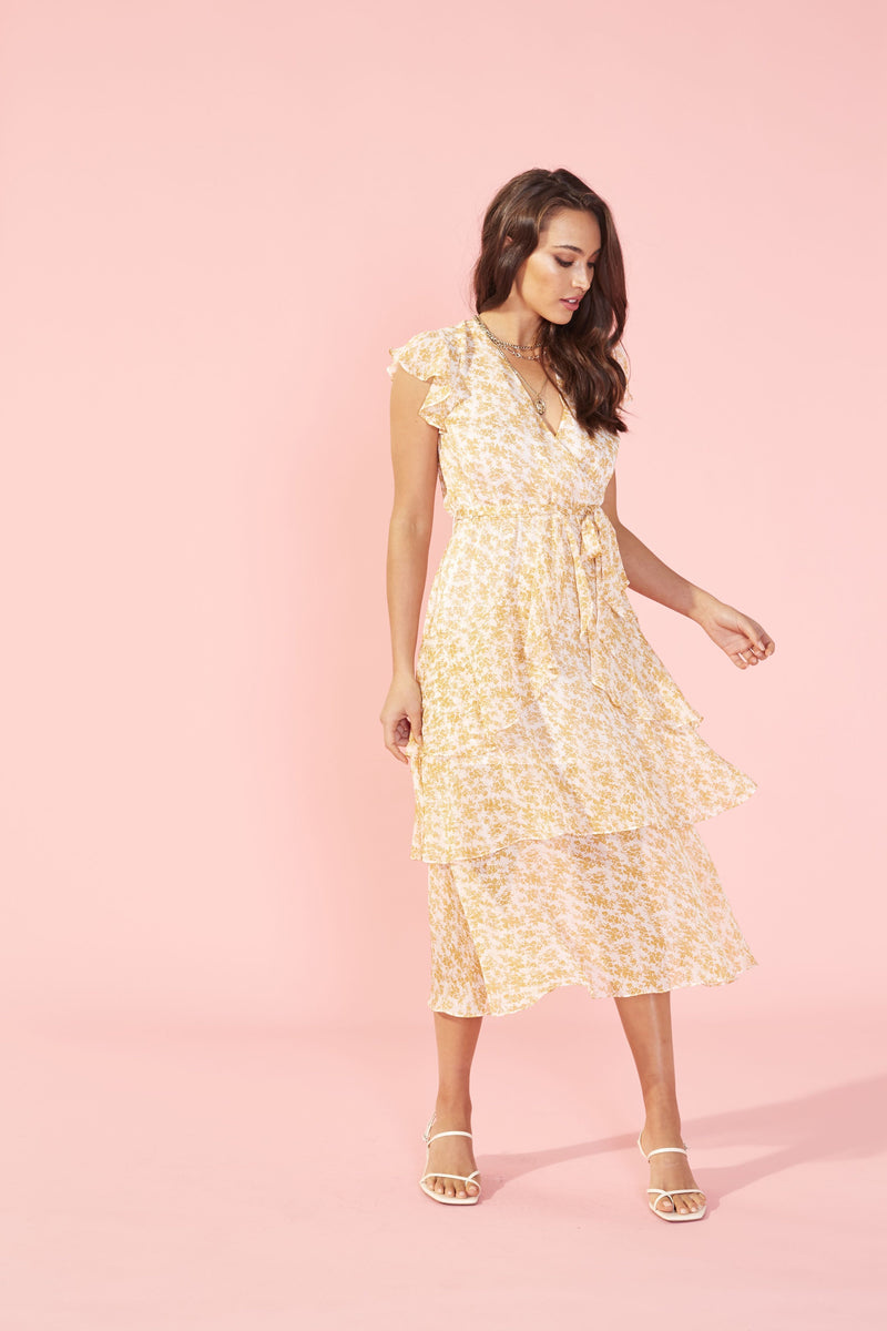 Lana Gold Tiered Dress