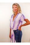 Purple Rah Rah Fluttered TIe Front Top