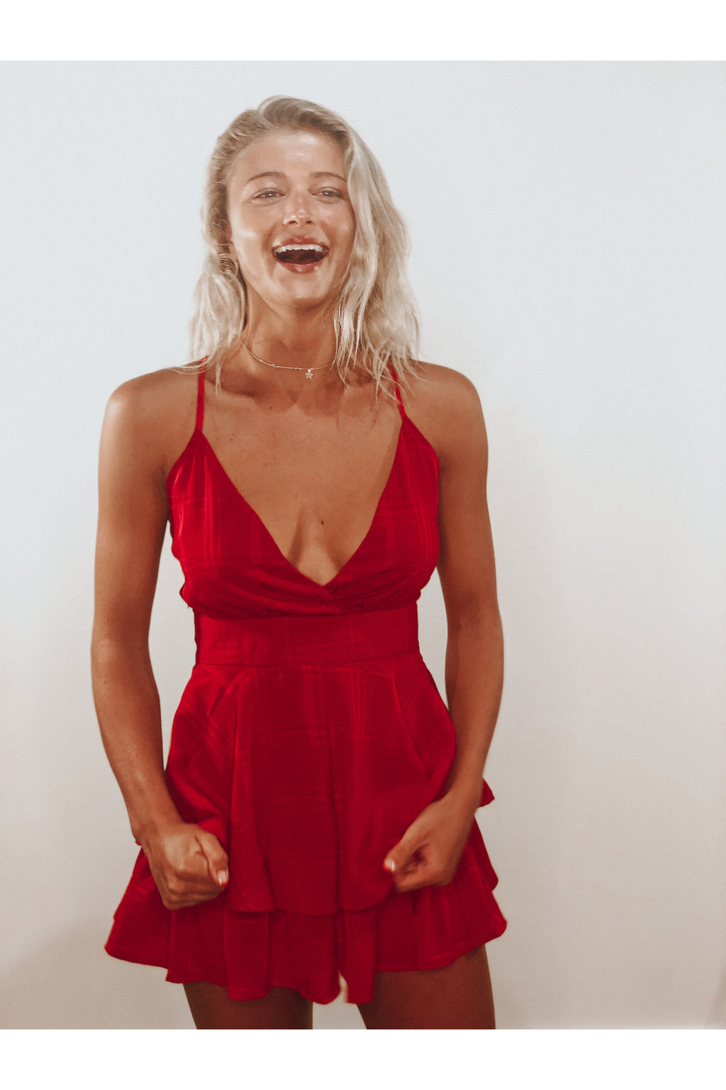 Rosey Red Chiffon Romper