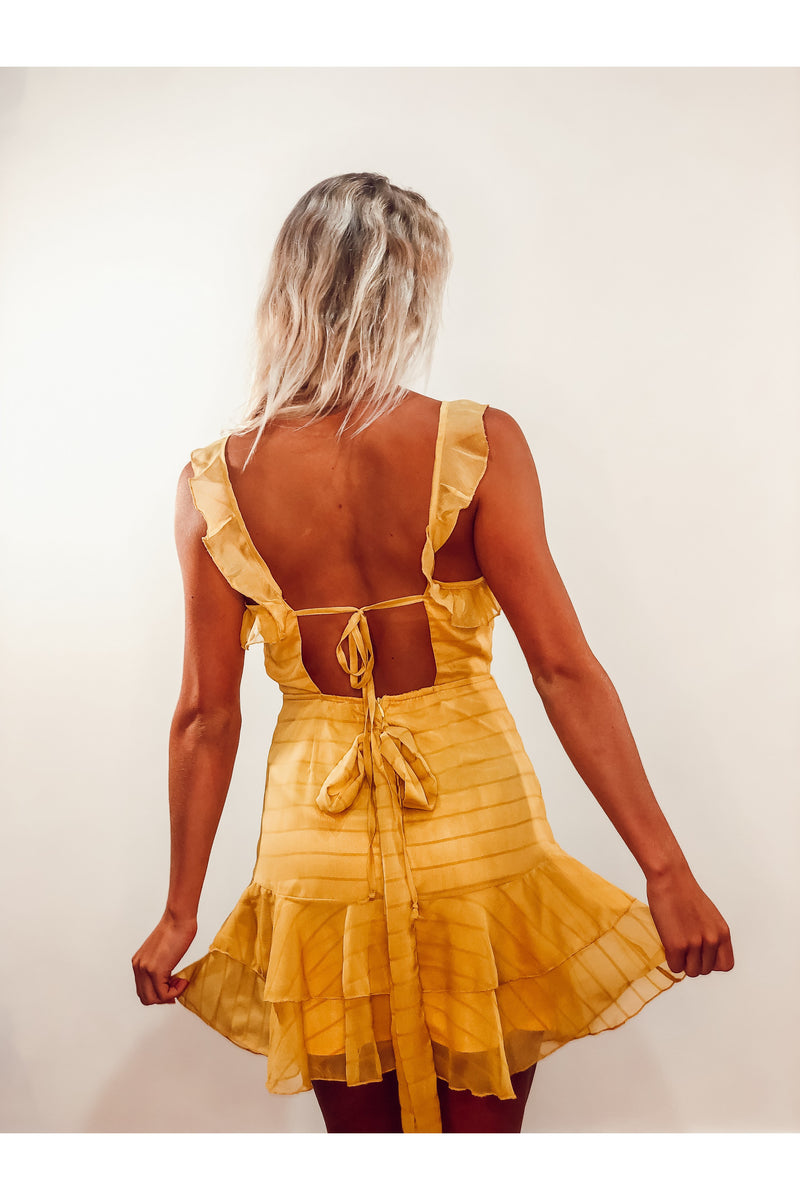 Honey Yellow Faux Wrap Dress