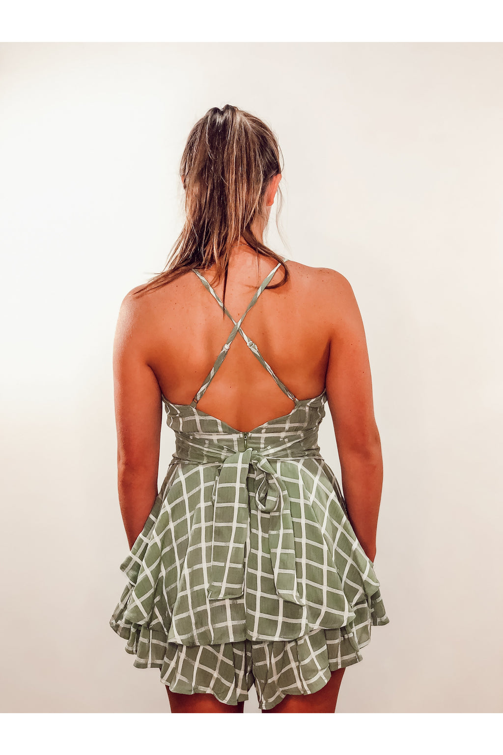Green Patterned Romper