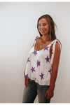 Lima Purple Stars Tie Shoulder Top