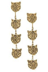 Yochi Triple Tiger Head Earring