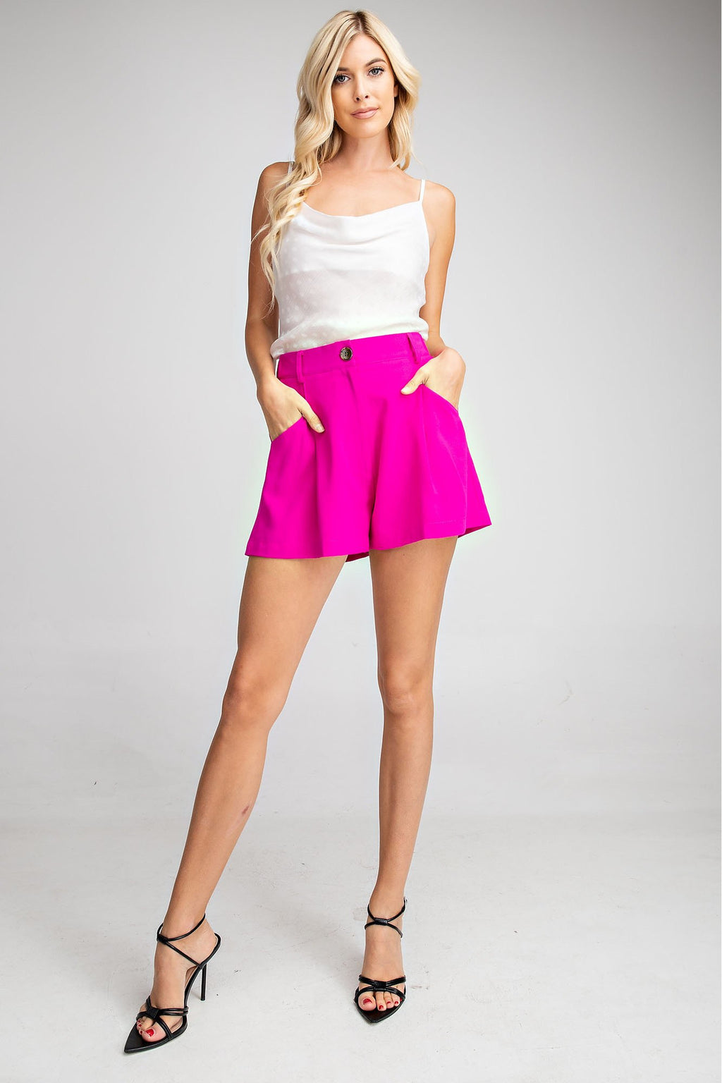Pleated High Waisted Shorts
