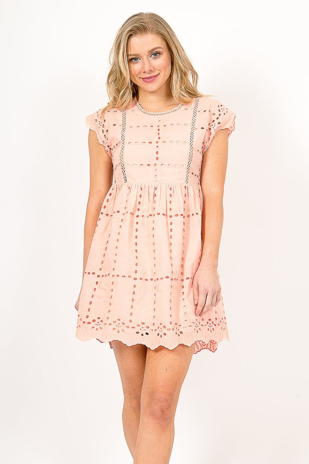 Coral Eyelet Baby Doll Dress
