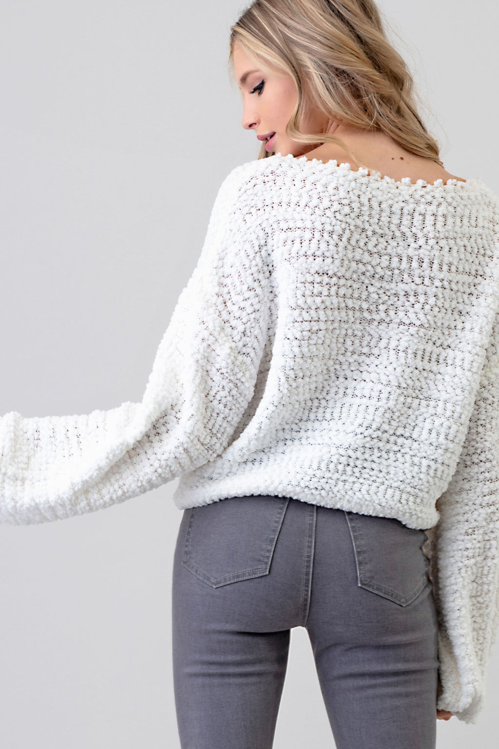 Popcorn Cream Knit Sweater With Drawsting Bottom