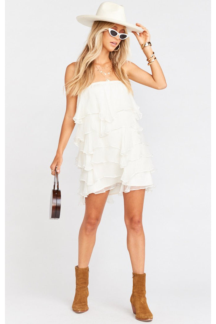 Rowen White Ruffle Dress
