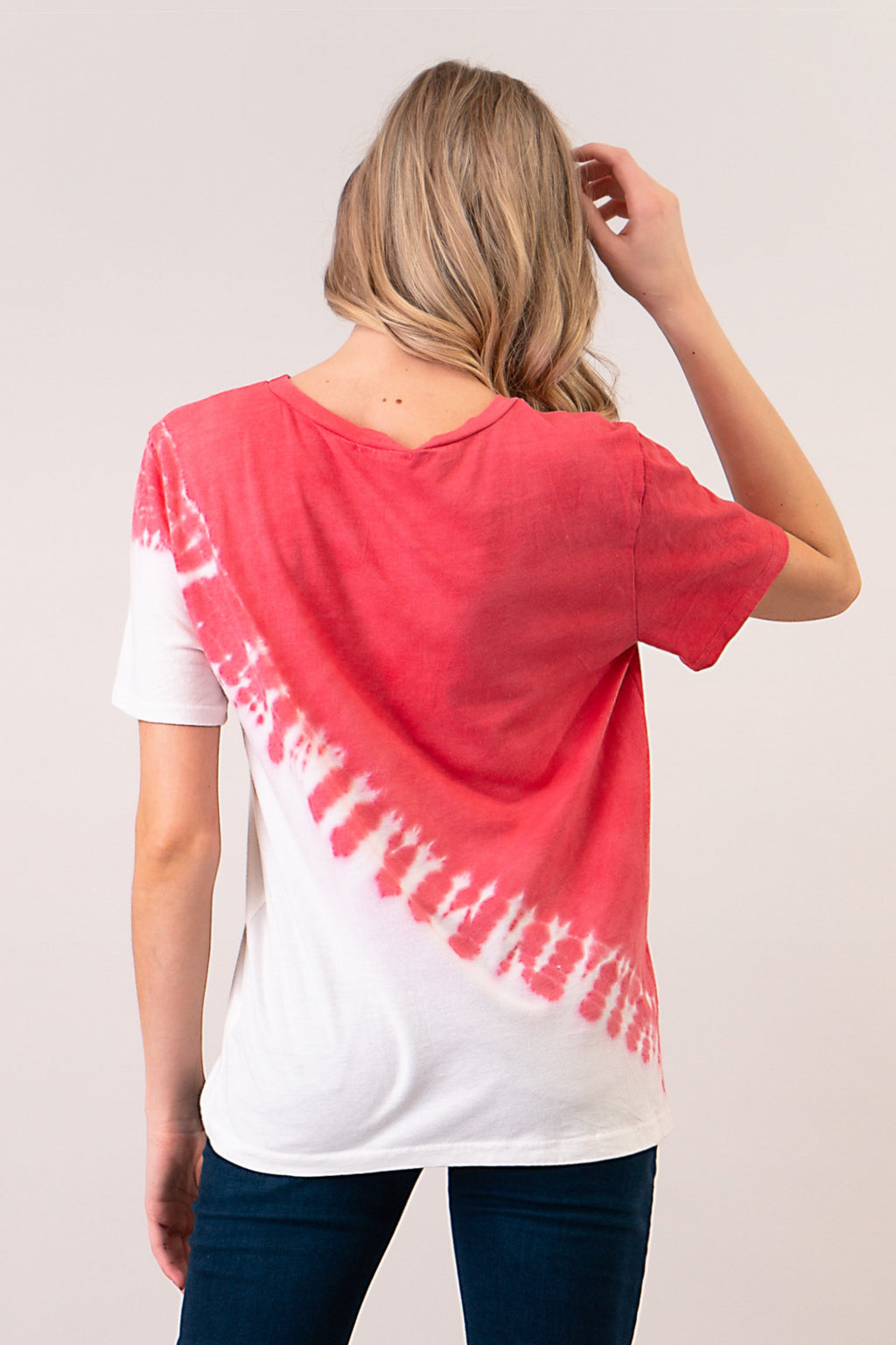 Red Diagonal Tie Dye Tee