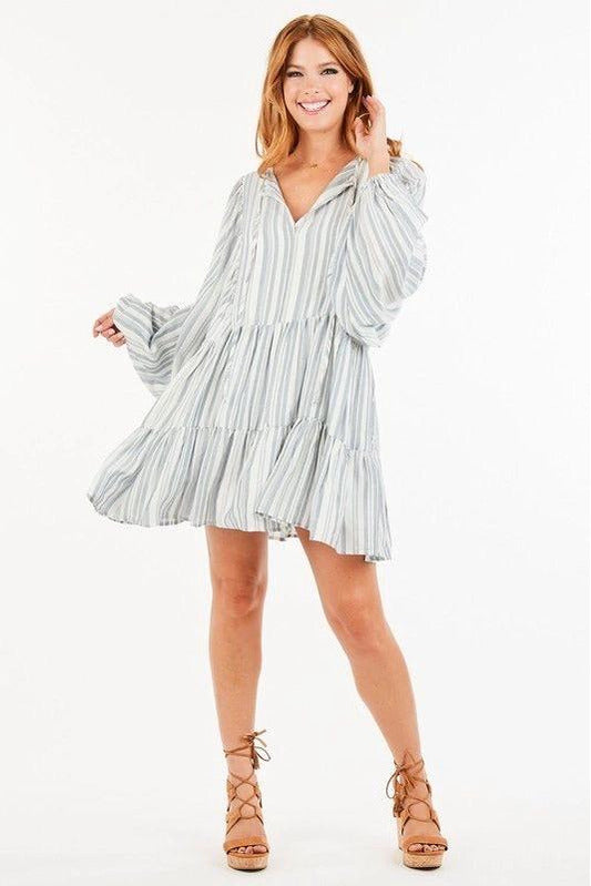 Off White/Denim Striped Ruffle Dress