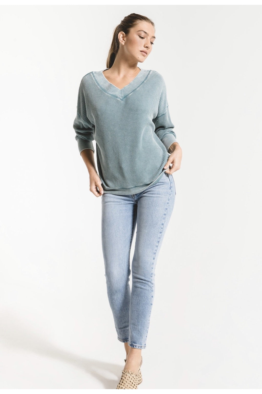 Emilia Teal Thermal Top