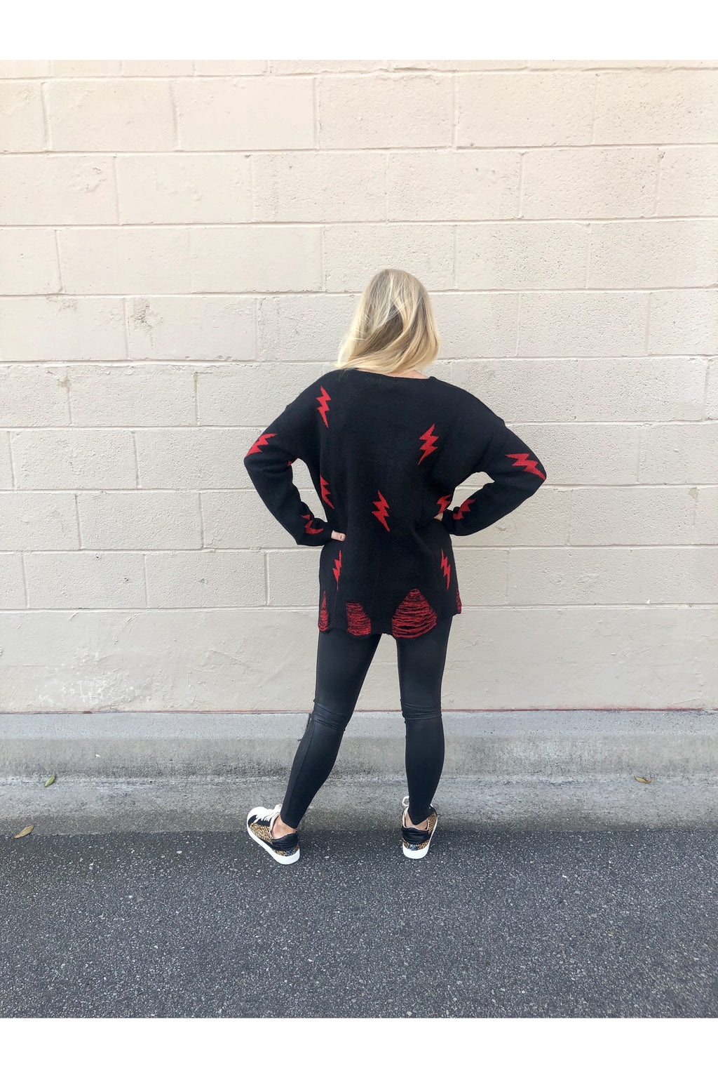 Fiona Black / Red Lightning Bolt Sweater