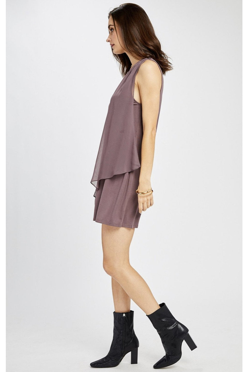 Eva Taupe V Neck Shift Dress
