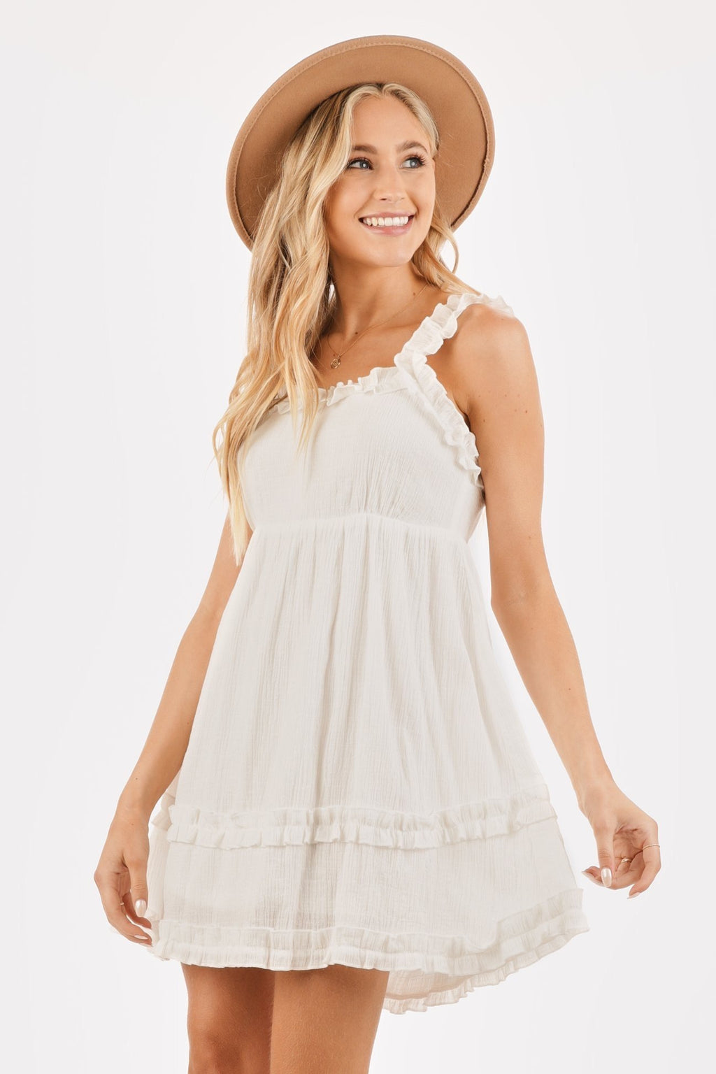 White Tie Back Mini Dress