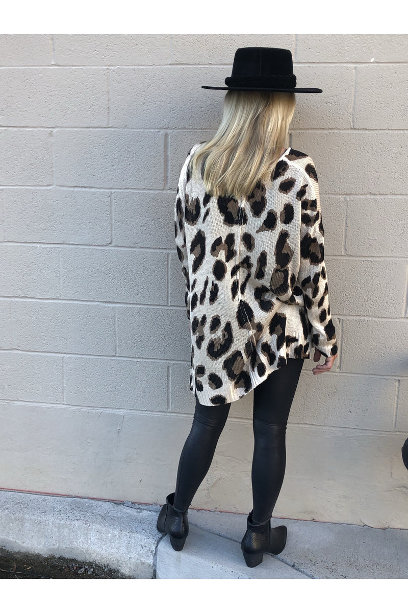 Leopard Knit Tunic Top