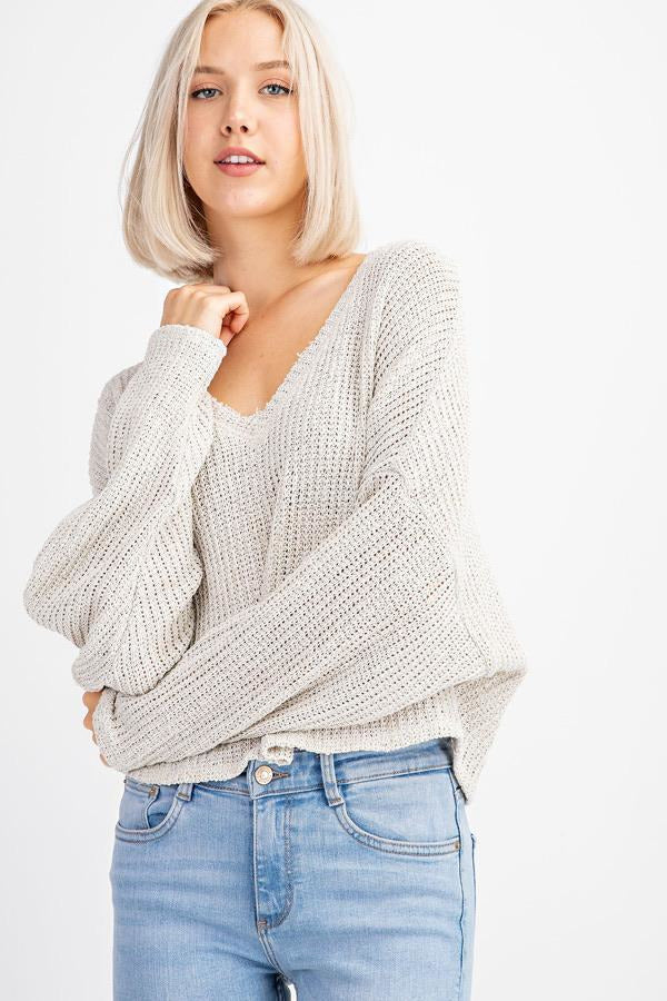 Beige V-Neck Long Sleeve Knit
