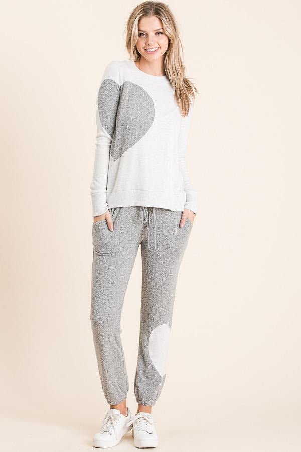 Brushed Jet Grey Hearts Jogger