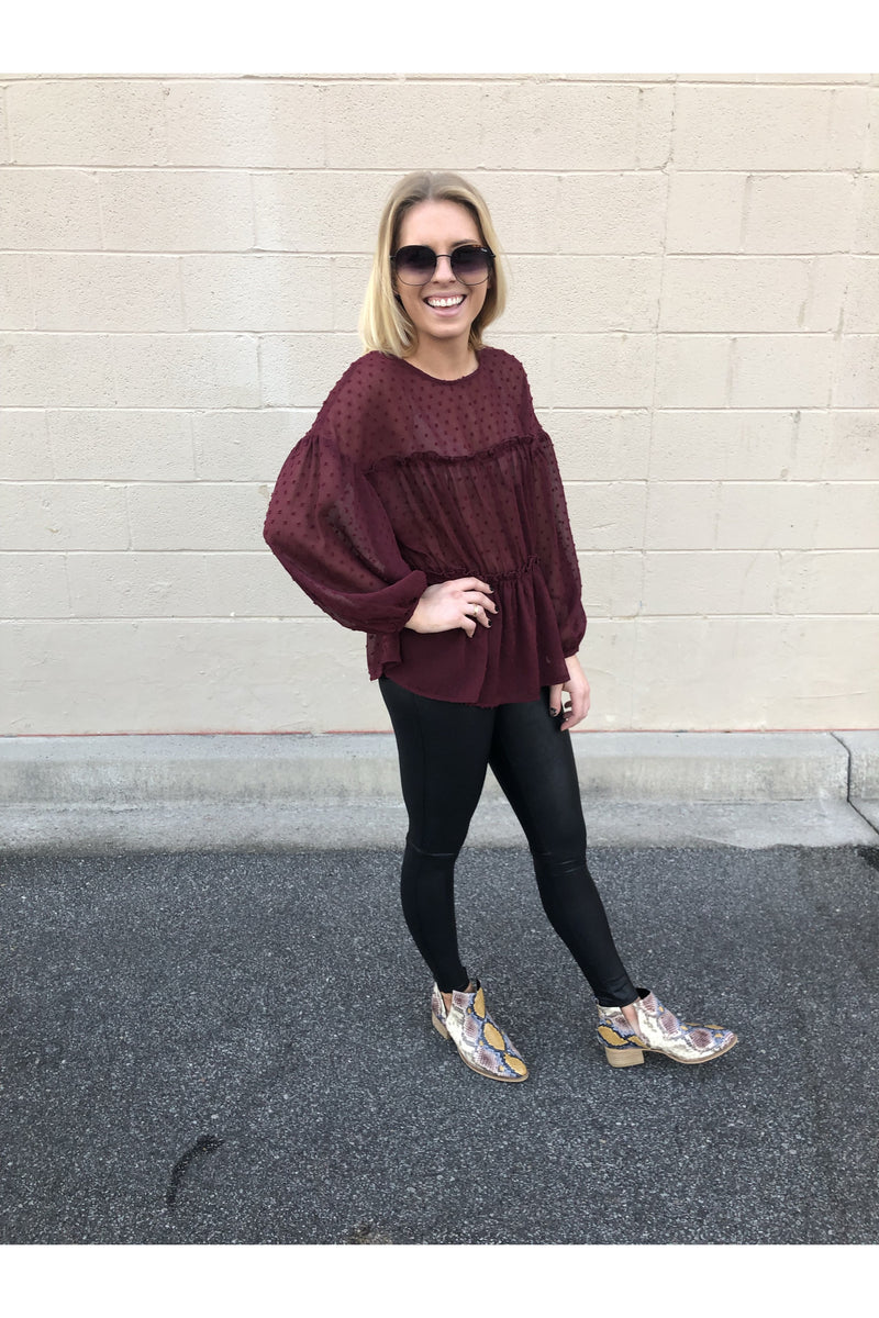 Swiss Dot Wine Long sleeve Top
