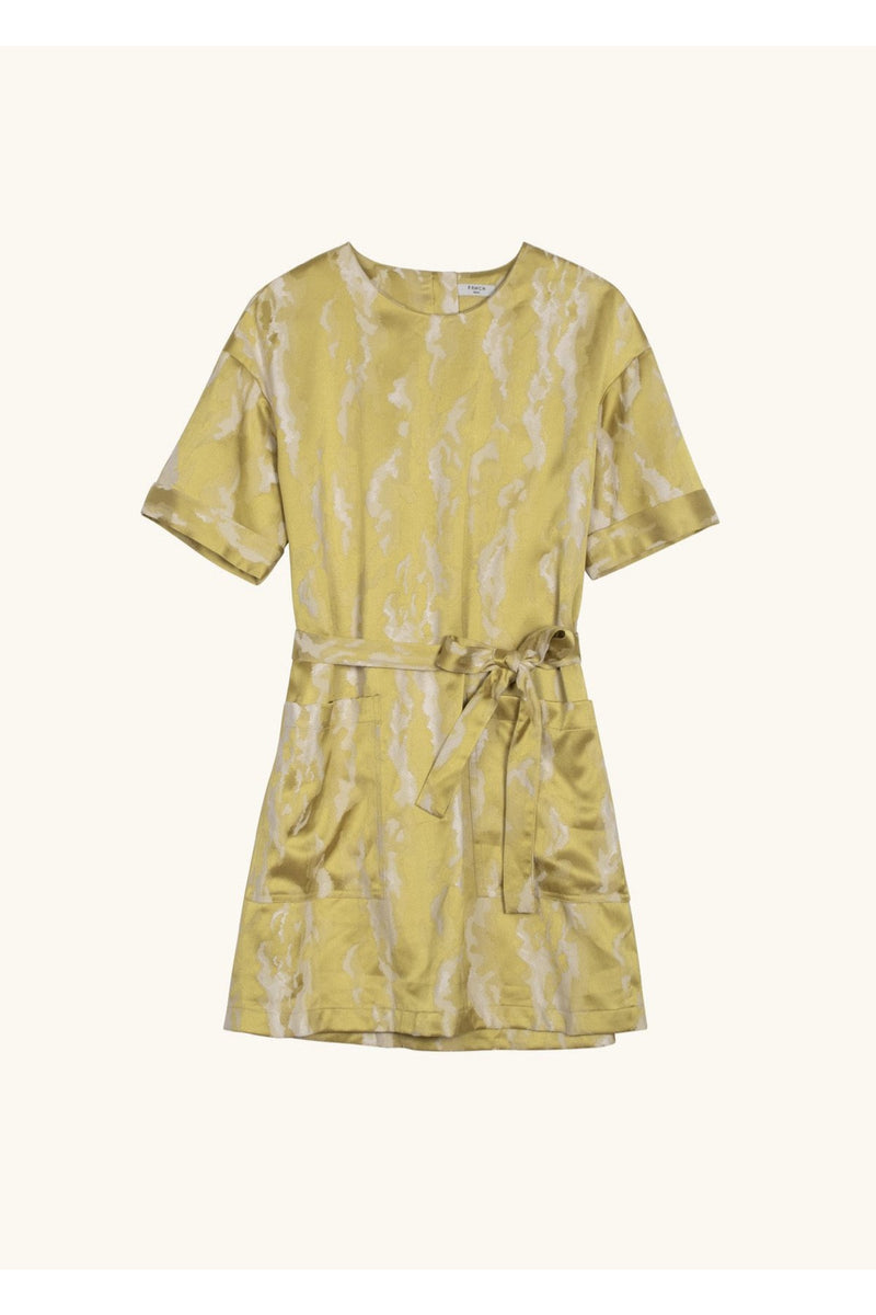 Golden Green Short Sleeve Dress