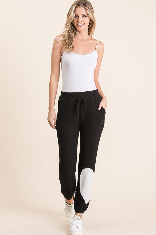 Brushed Jet Black Hearts Jogger