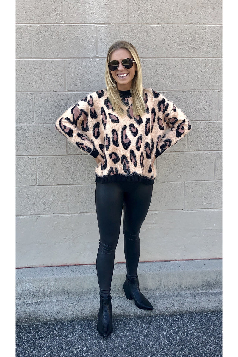 Fluffy Leopard Pullover