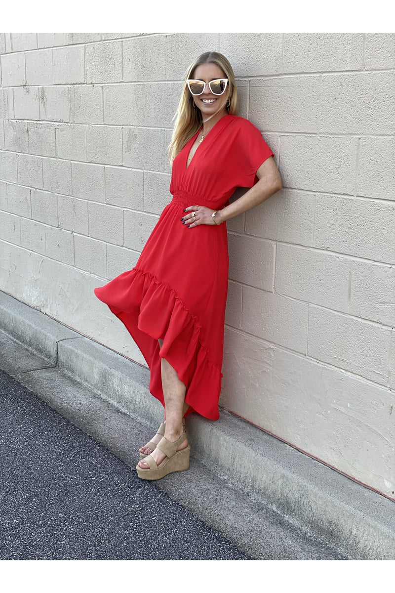 Red High Low Tie Back Dress