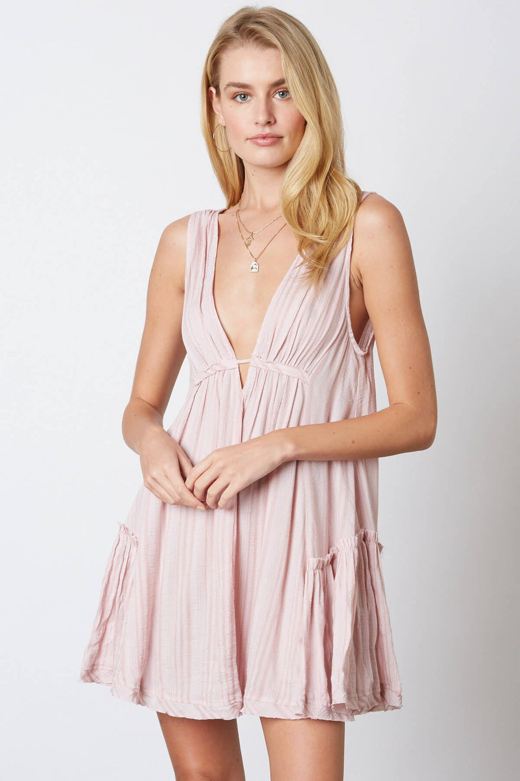 Pink V Neck Ruffle Dress