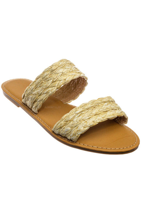 Natural Raffia Slides