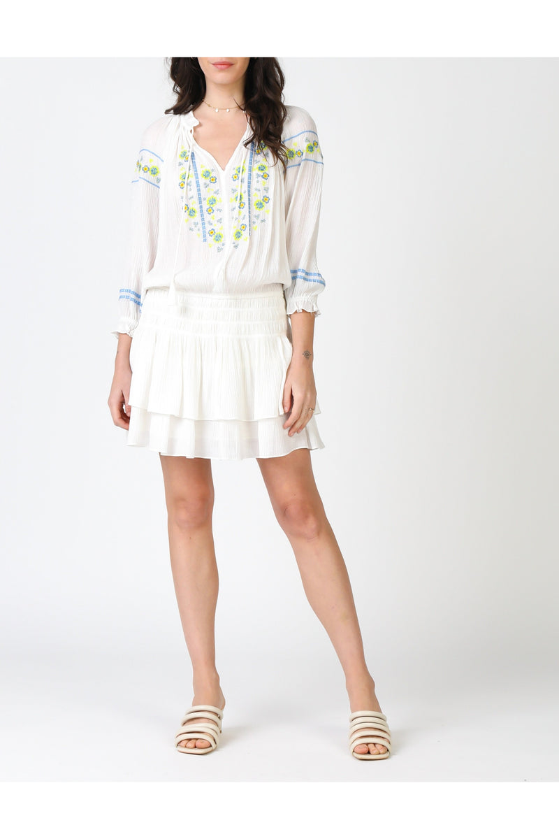 White/Lime/Blue Smocked Dress