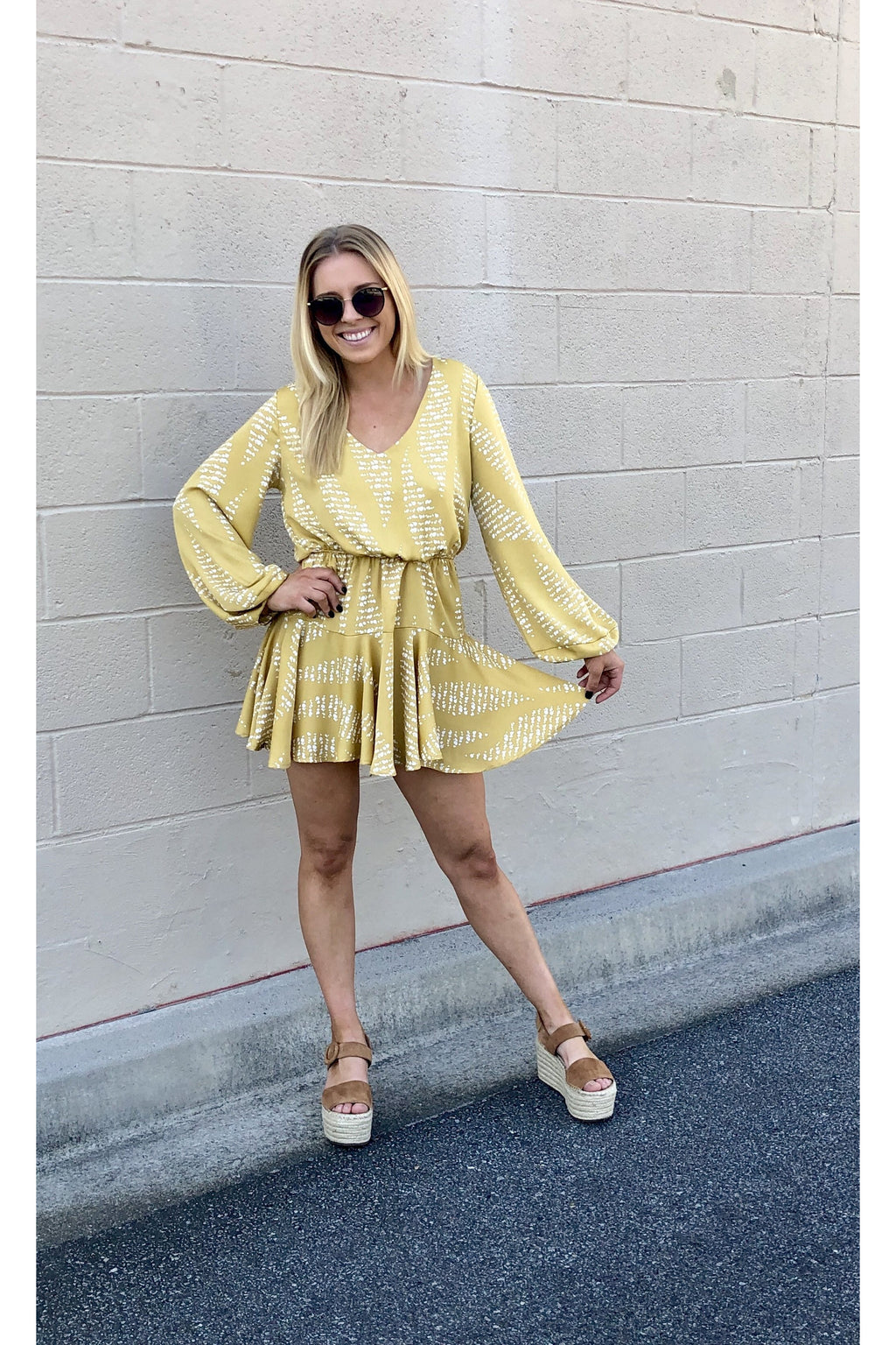 Yellow Dotted Ruffle Dress