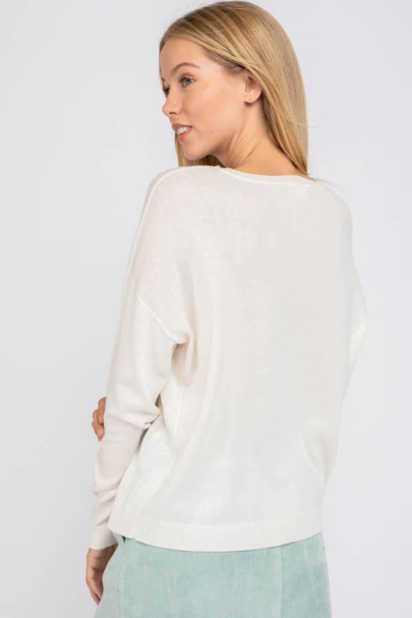 White Multi Lightning Sweater