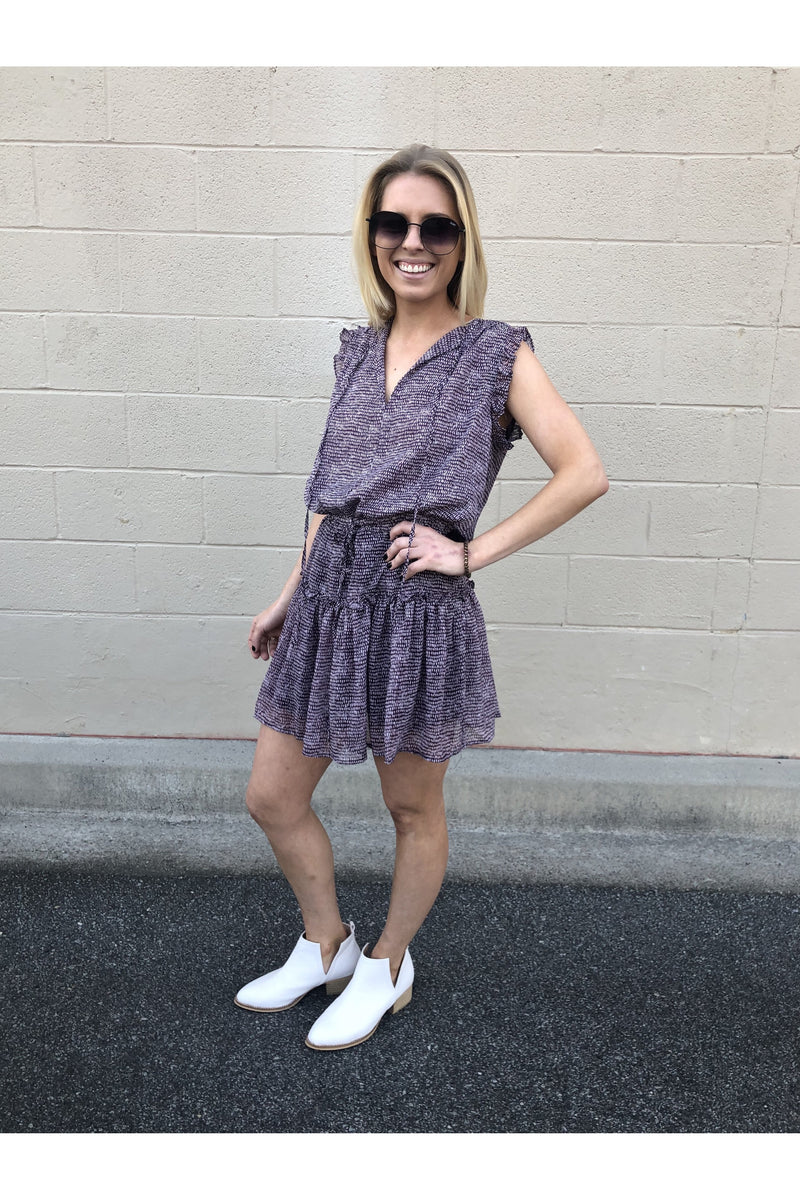 Deep Purple with Dot Print Sleeveless Dress