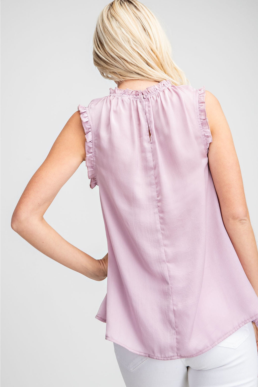 Lavender Ruffle Neck Top