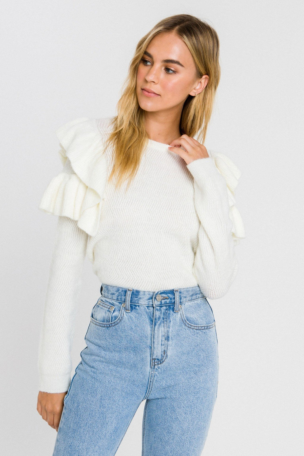 Cream Ruffle Detail Sweater